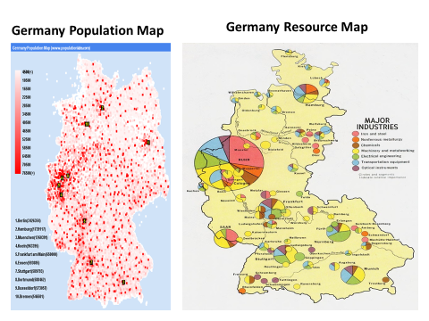 SSG European Population Distribution Holly Sprayberrys Social - Germany map natural resources